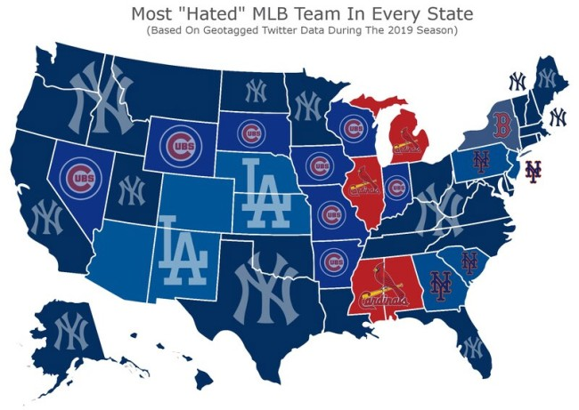 Map Shows The Most Hated Baseball Team In Each State For 2019