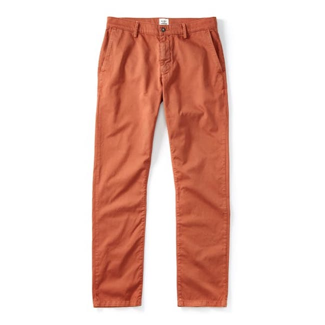 Cool Chinos in Rust from Flint & Tinder