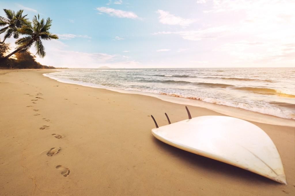 surfboard on tropical beach