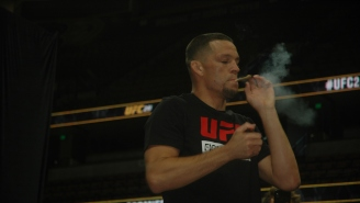I Watched Nate Diaz Light Up A CBD Joint At The UFC 241 Open Workouts