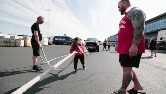 The Mountain's 5-Foot-2, 112-Pound Wife Pulled A Freaking Truck On Leg Day, Because Of Course She Did