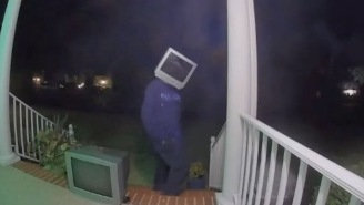 Is This TV-Headed Man Leaving Old TVs On People's Porches Hilarious Or Terrifying?