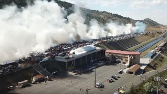 Want To See What 170 Cars Doing A Burnout At The Same Time Looks Like? Are You An American? Hell Yeah, You Do!