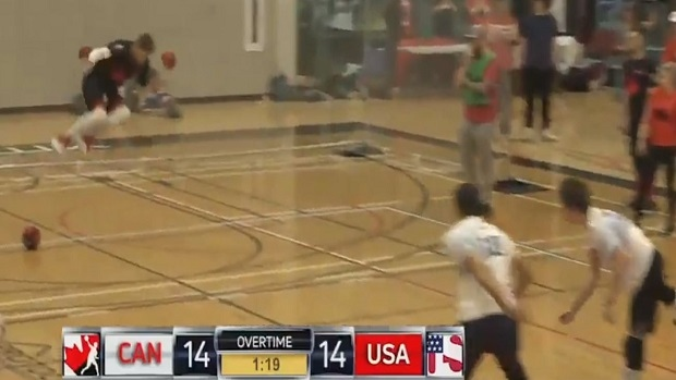 USA was down 12-2 against Canada and stormed back to win and  it was on the ESPN's Ocho.