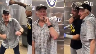 Brewers 85-Year-Old Announcer Showers In Champagne, Smokes Stogies With The Team Following Wild Card Berth