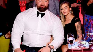 Hafthor Bjornsson AKA 'The Mountain' Bench Pressed His Wife While Getting A Tattoo