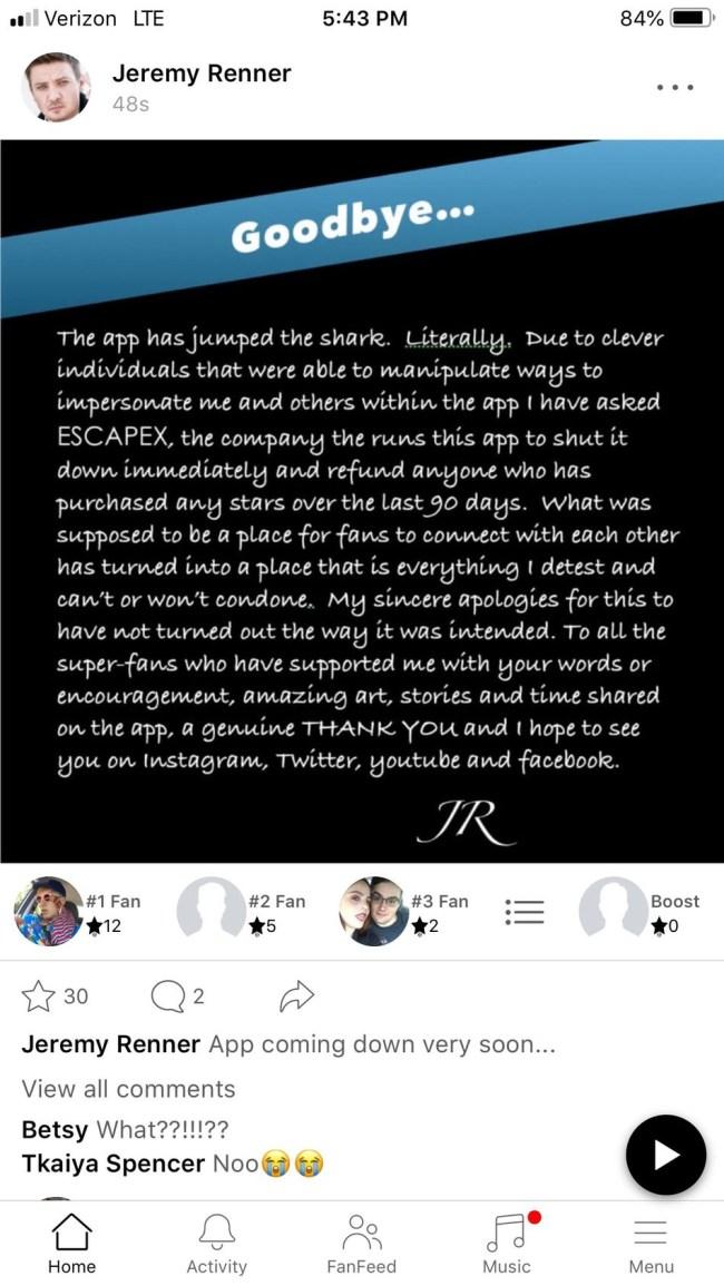 jeremy renner shuts down app trolling