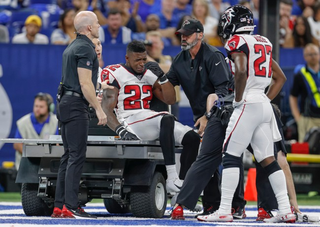 Keanu Neal was called for a penalty by NFL refs after removing his helmet following a serious injury