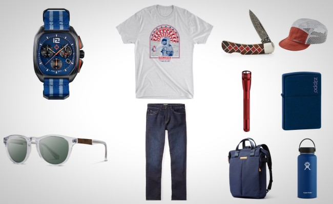 red white and blue everyday carry gear