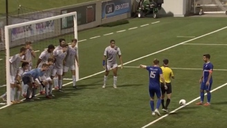 11 Players Standing In Right Front Of The Goal Couldn't Stop This Bizarre Indirect Free Kick From Inside The Box