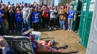 A Member Of Bills Mafia Got Knocked The Hell Out After Trying (And Failing) To Jump Through A Table
