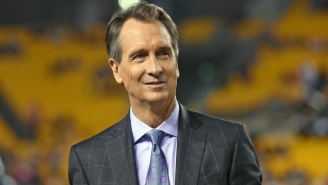 Twitter Unearths The Most Cringe-Worthy Video Of A Fake-Mustached Cris Collinsworth Slinging Taco Meat