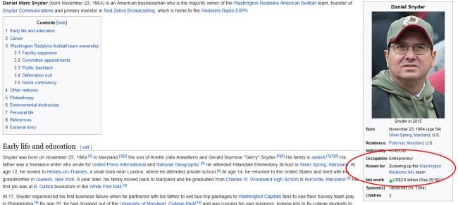 daniel Snyder wikipedia page