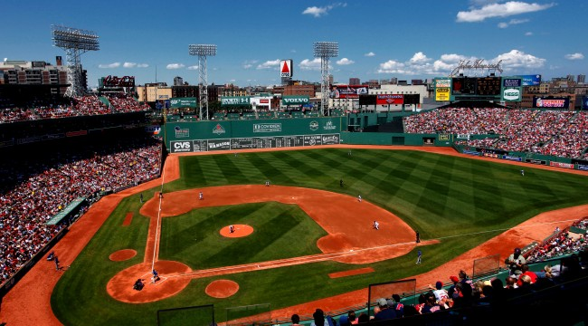 Fenway Park Doesnt Have Any Grass On It Right Now And It Looks Weird