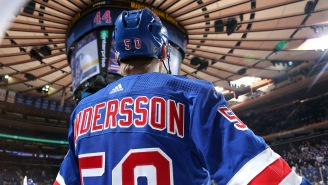 Rangers' Lias Andersson Wipes Out During Introductions And NHL Twitter Enjoyed It Thoroughly