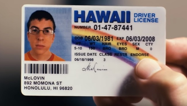Underage man uses fake McLovin ID from Superbad to get into a bar in Iowa.