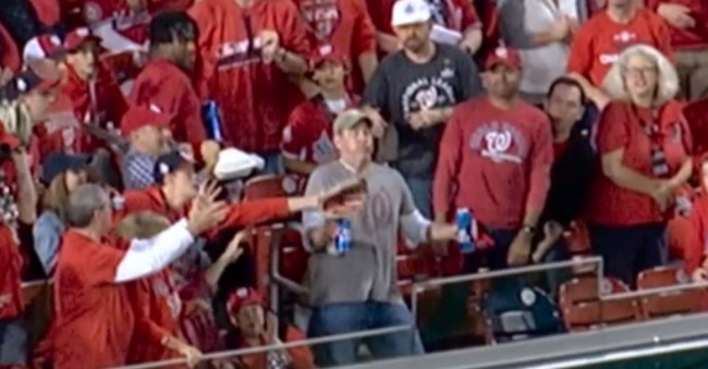 beer holding nationals fan takes hr to chest