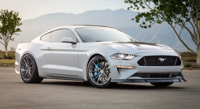 Ford Mustang Electric Car with lithium charging at SEMA.