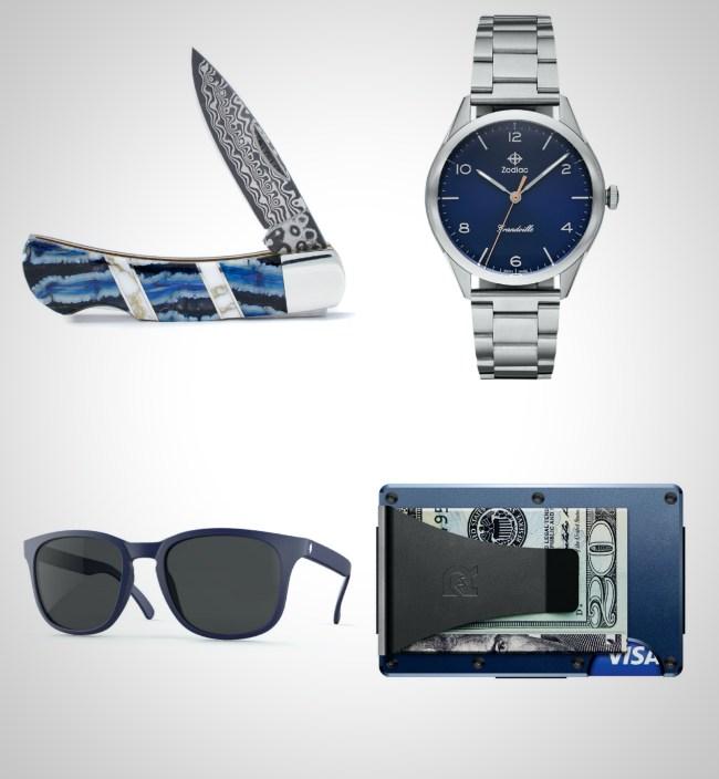 everyday carry essentials shades of blue