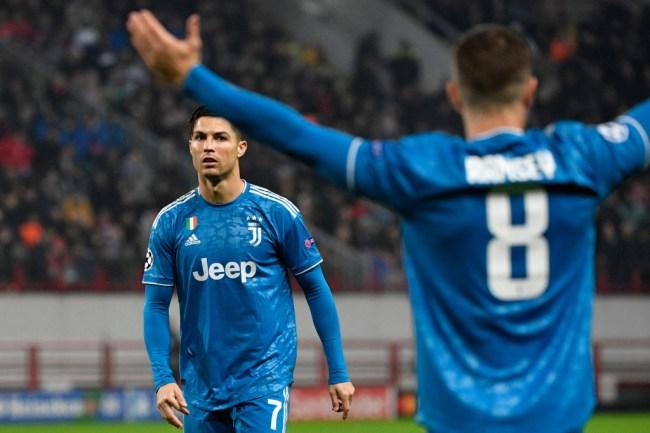 aaron ramsey steals cristiano ronaldo free kick goal
