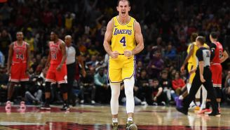 Alex Caruso Says LeBron's 'Gotta Watch Out' With His In-Game Chest Bumps, Which Definitely Look Like They Hurt