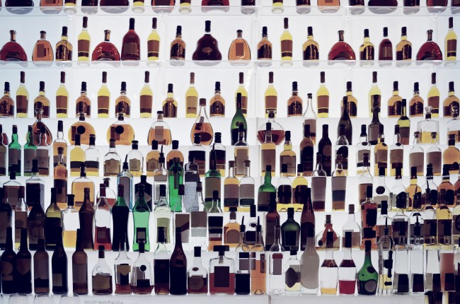 lots of alcohol bottles