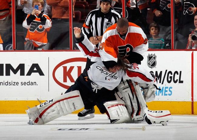 best hockey goalie fights