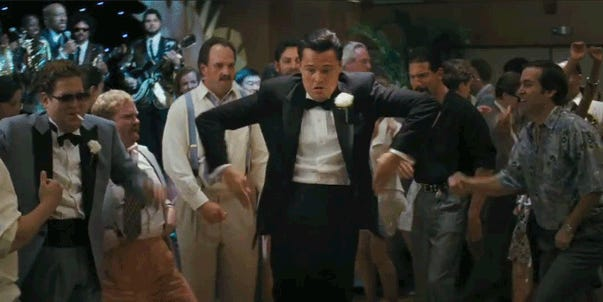 The best and greatest Leonardo DiCaprio dancing movie scenes and moments including Diddy's 50th birthday party.