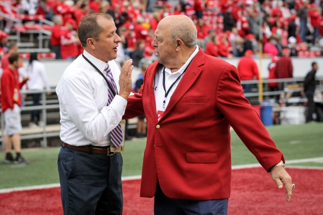 Barry Alvarez was caught on TV shooing away his young grandson during Wisconsin-Oregon Rose Bowl Game