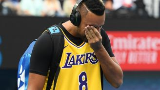 An Emotional Nick Kyrgios Warms Up In Kobe Bryant Jersey At Australian Open