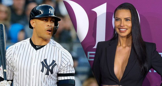 Giancarlo Stanton Works Out By Bench-Pressing Supermodel Adriana Lima