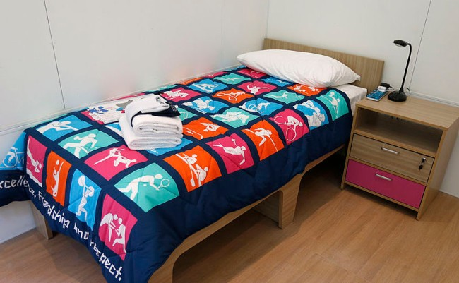 olympic village cardboard bed collapsing sex