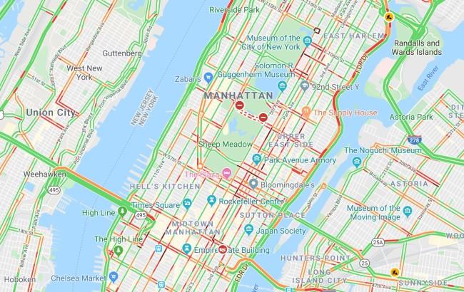 creating fake traffic jam using smartphones Google Maps