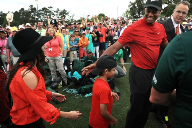 tiger woods celebrates masters win with kids