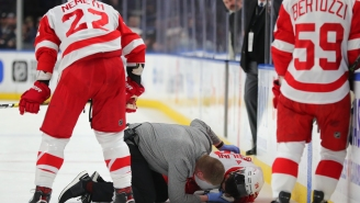 Red Wings' Brendan Perlini Took A F'n Skate To The Face In A Gnarly Accident But He Escaped With Only Stitches