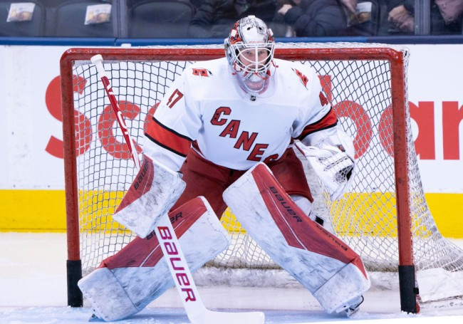 The Carolina Hurricanes had to turn to 42-year-old zamboni driver and emergency backup goalie Dave Ayres on Saturday against the Toronto Maple Leafs.