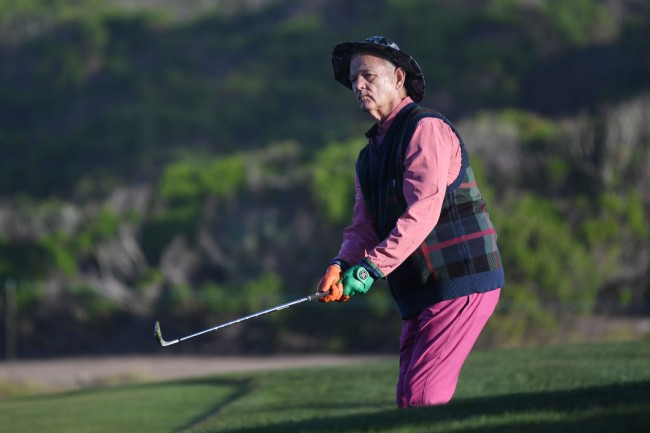 Bill Murray chugs shot of tequila at the Pebble Beach Pro-Am.