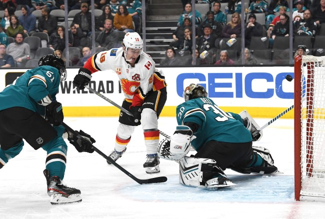 Matthew Tkachuk Calgary Flames between the legs goal