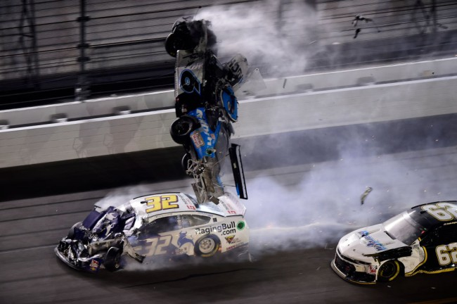 Ryan Newman, driver of the #6 Koch Industries Ford, flips over as he crashes during the NASCAR Cup Series 62nd Annual Daytona 500 at Daytona International Speedway.