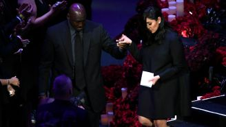 Michael Jordan Helps Vanessa Bryant Off Stage Following Her Emotional Eulogy Remembering Kobe And Gianna