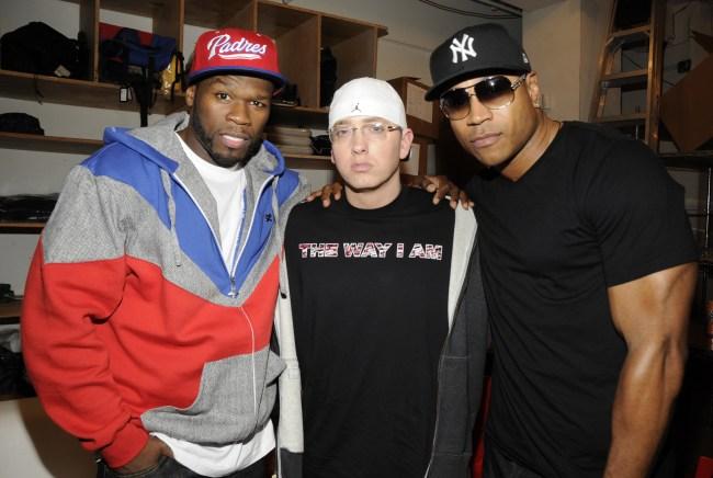 LL Cool J Gives old school hip-hop Rock The Bells jacket to Eminem and Dr. Dre.