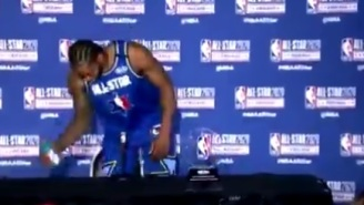Video Shows Kawhi Leonard Removing Gatorade Bottle From Table And Whispering 'Not Sponsored By Gatorade' During All-Star Press Conference