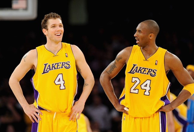 Luke Walton describes how he taught a young Kobe Bryant how to play drinking games and how Kobe tried mastering it