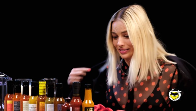 Margot Robbie Eating Wings On The Hot Ones Challenge