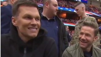 Tom Brady Appeared To Be Talking To Titans Head Coach Mike Vrabel On FaceTime While At Syracuse-UNC Game