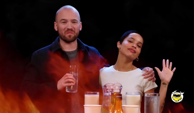 Zoe Kravitz Takes First We Feast Hot Ones Challenge without a drink