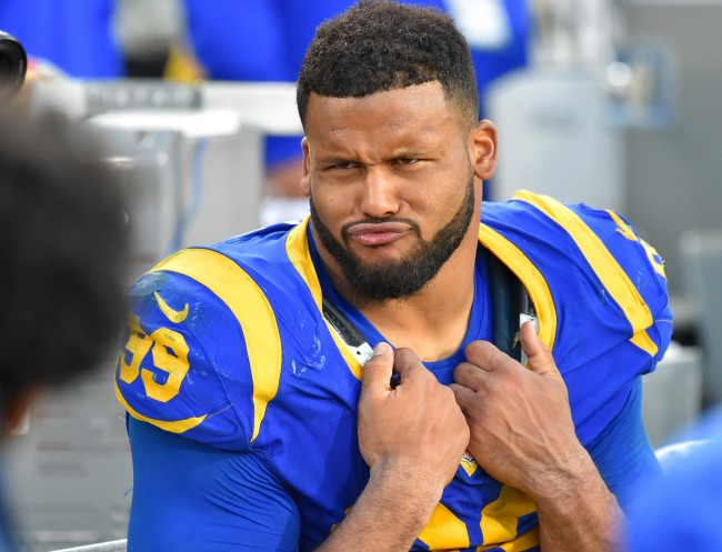 Rams DT Aaron Donald is jacked standing next to fellow Pro Bowler James Conner
