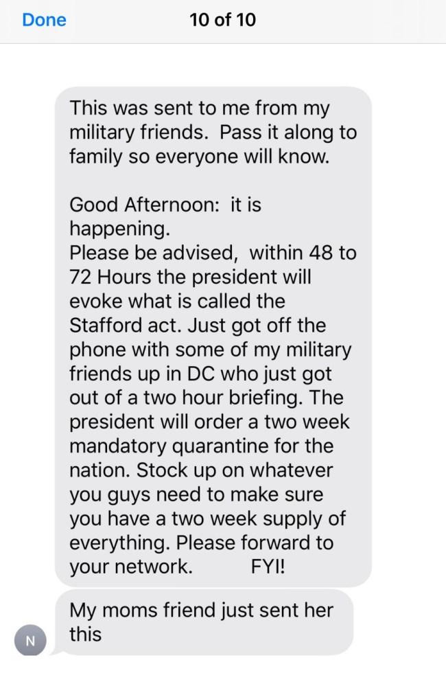 fake stafford act national quarantine hoax text message
