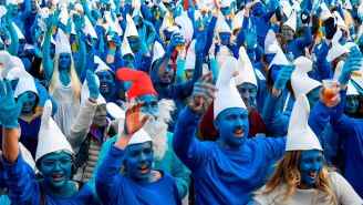 3,500 People In France Decided Dressing As Smurfs At A Massive Gathering Was More Important Than Avoiding The Coronavirus Pandemic
