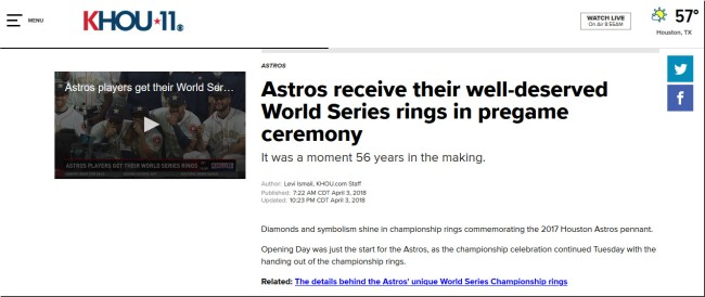 Houston Astros Going To Hold Ring Ceremony For Their 2019 ALCS Win